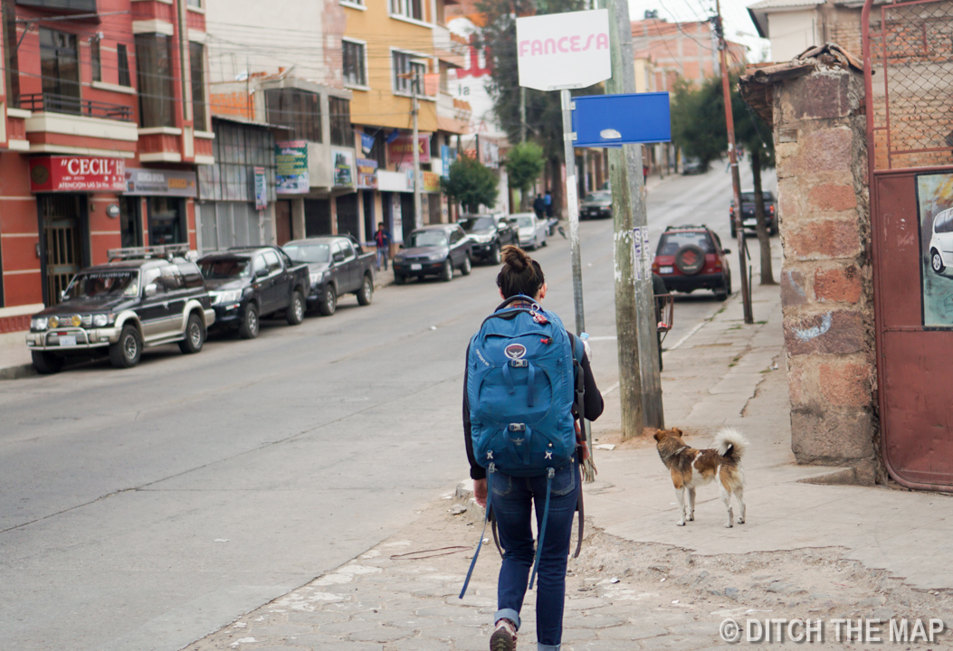 Our new friend leads us to the bus terminal in Sucre, Bolivia