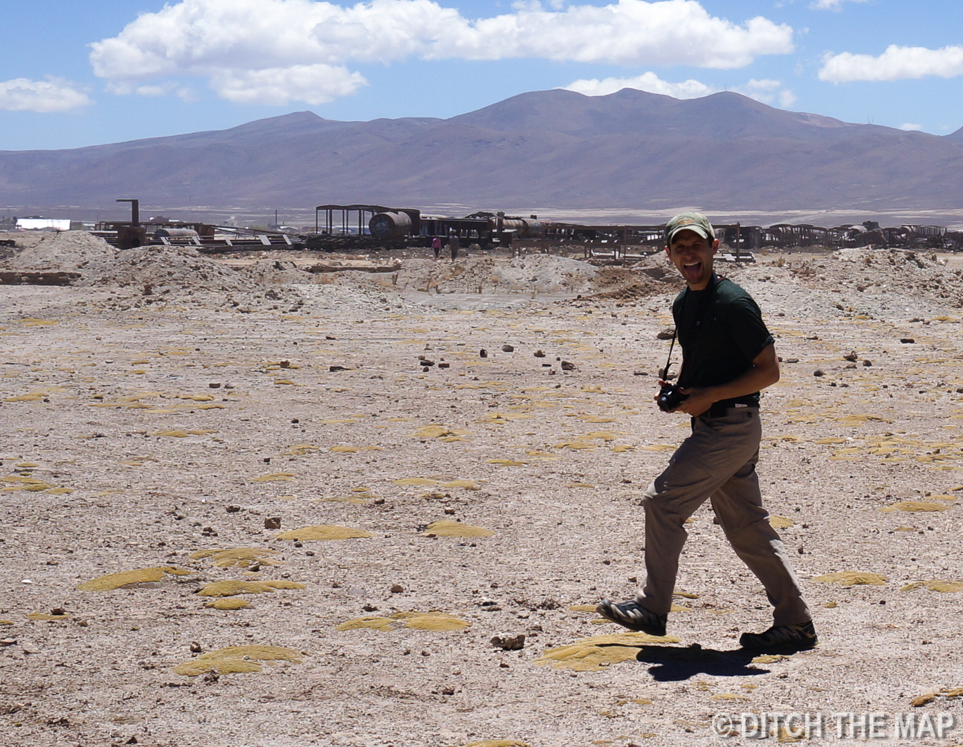 Scott goofing off at the Train Graveyard in Salar de Uyuni, Bolivia