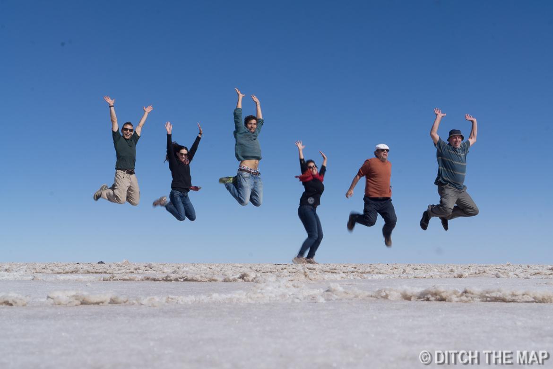 Our tour group at Salar de Uyuni, Bolivia