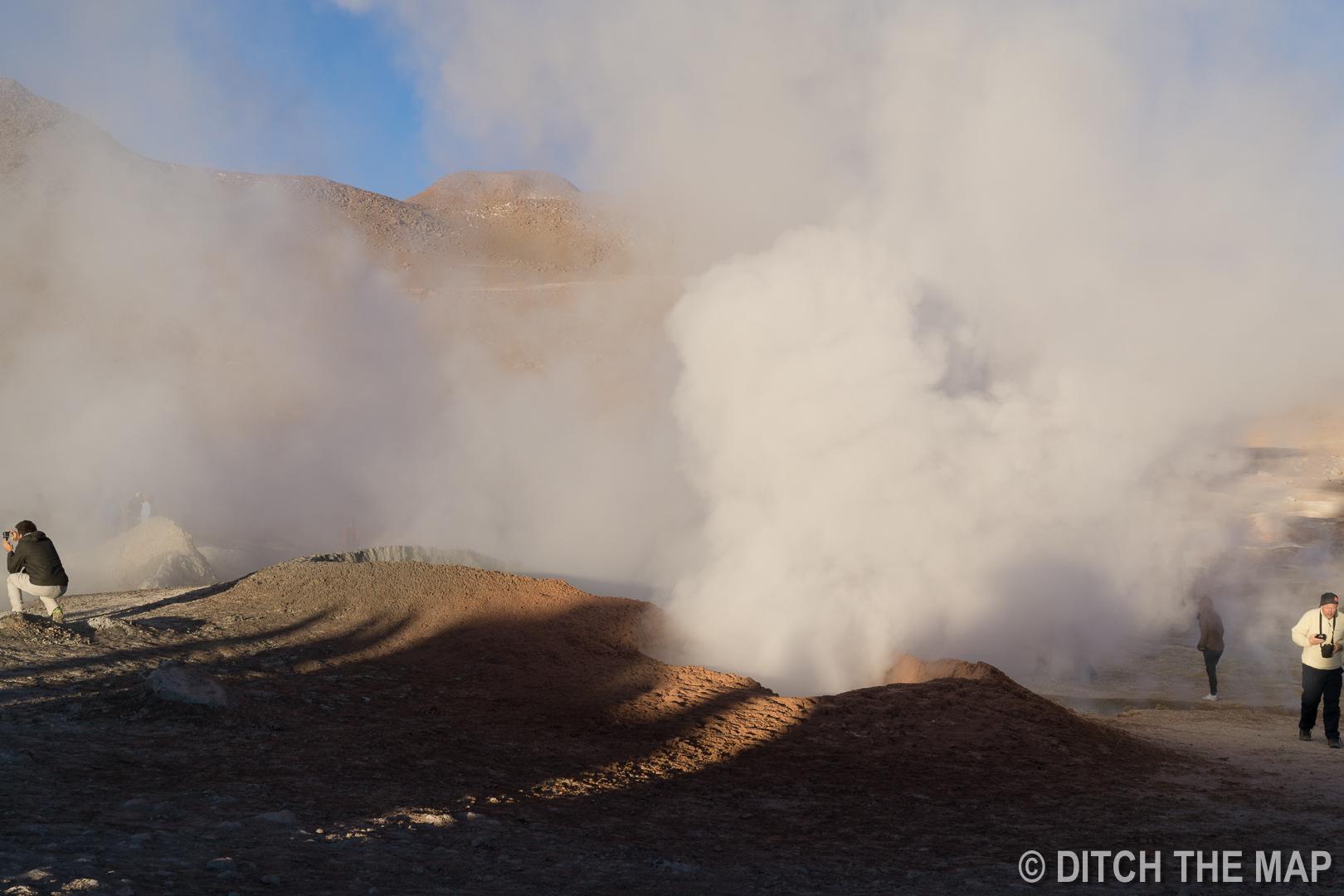 Solar de Manaña geyser basin in Bolivia