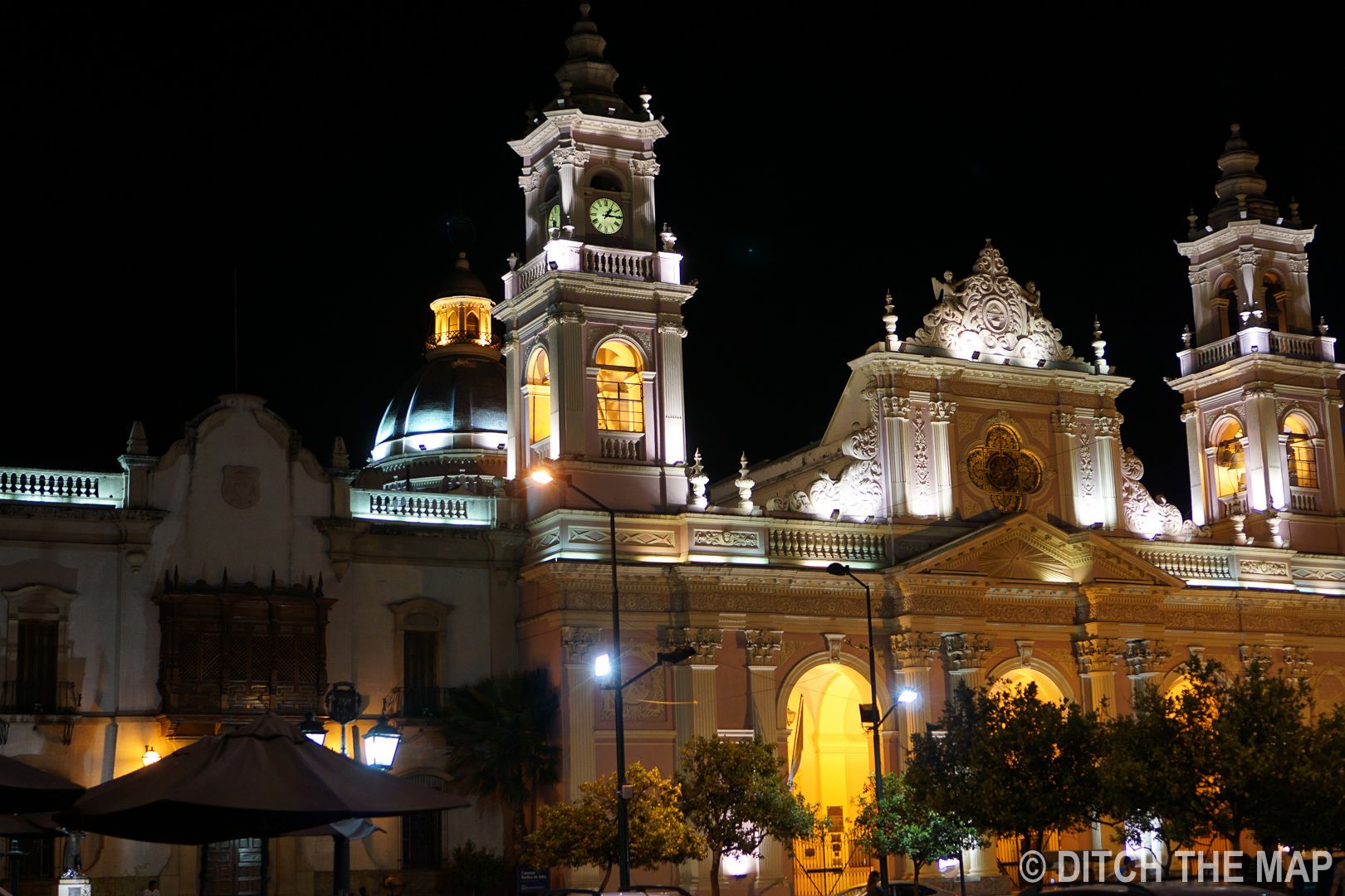 The center square at night in Salta, Argentina