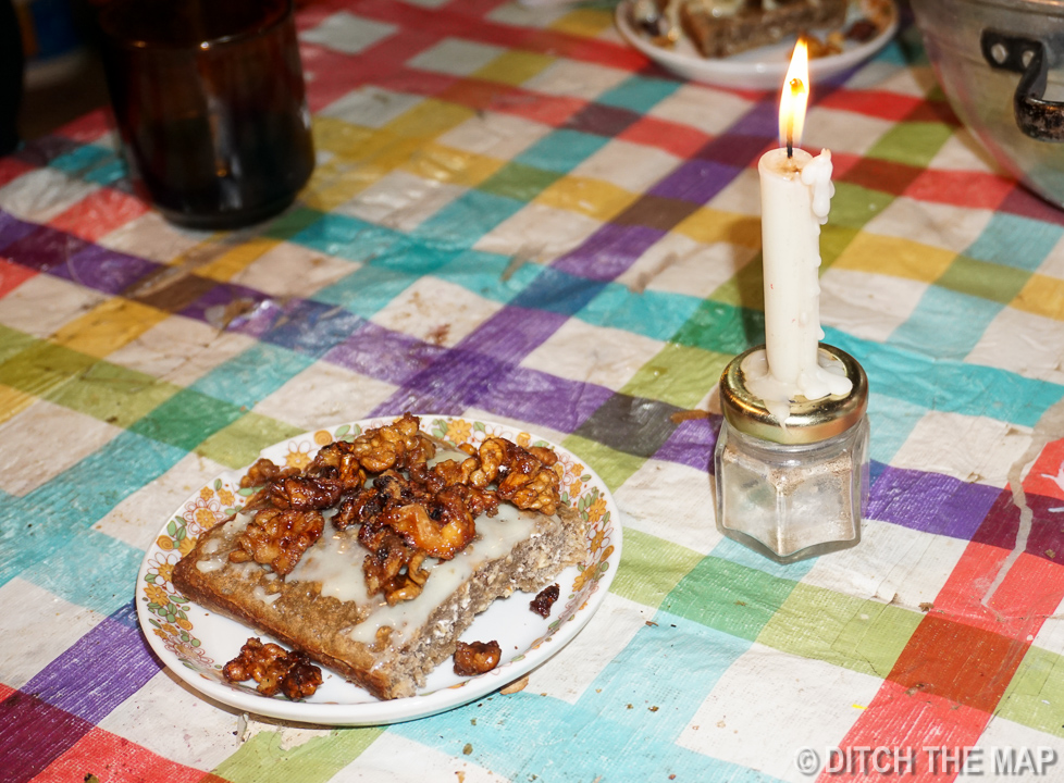 Homemade cake, candied walnuts, and dulce de leche I made in Tupungato, Argentina