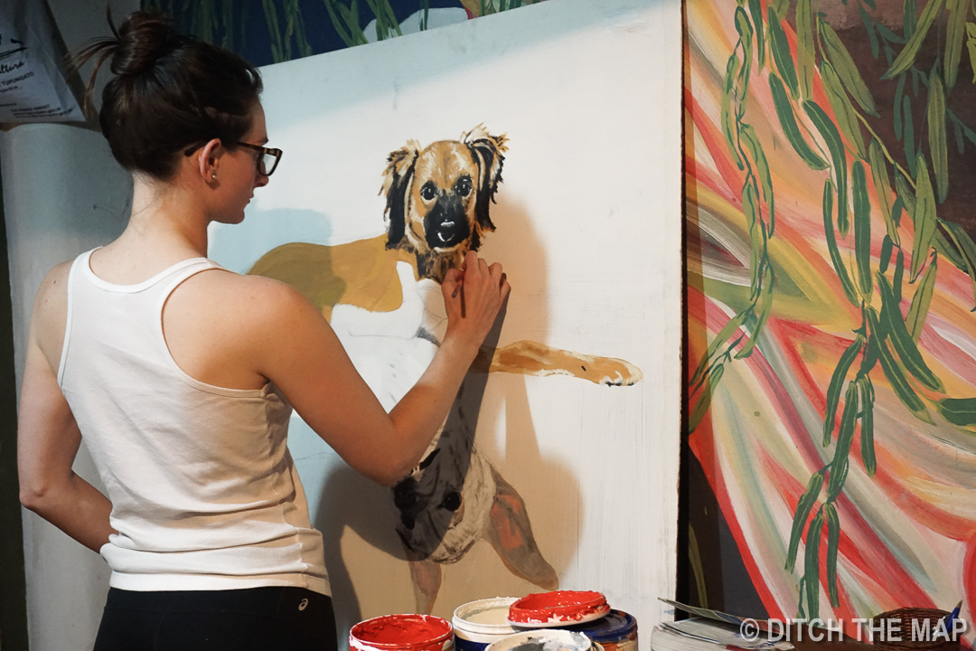 Sylvie painting 'Willow' and 'Dinky' during her time in Tupungato, Argentina