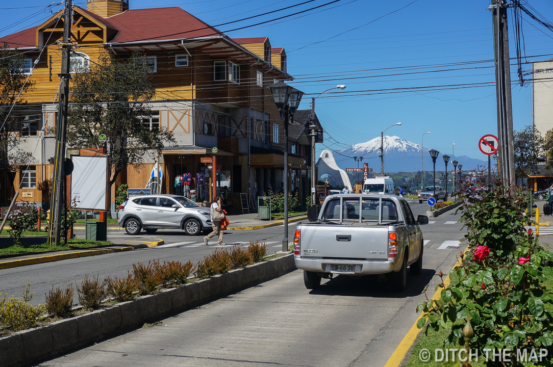 A view of the lake and a volcano from the city of Puerto Varas, Chile