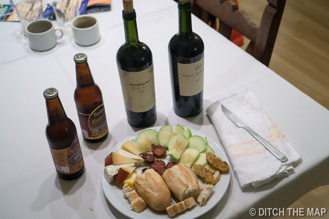 Our meal the night after our long, 25 km, hike