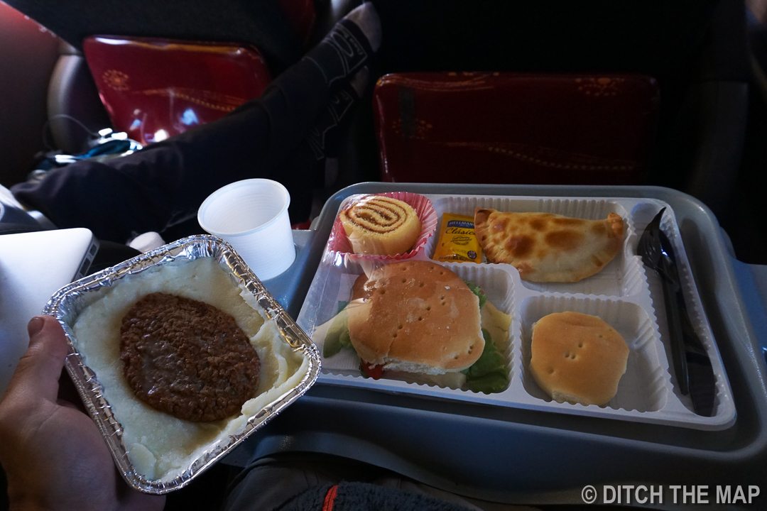 We get 5 meals (2 hot) during our 31-hr bus ride to El Calafate, Argentina