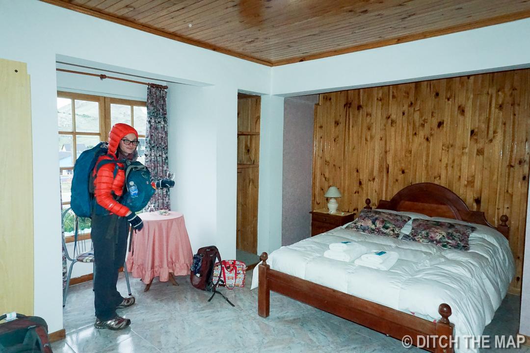 Our nice hotel room in El Chalten, Argentina