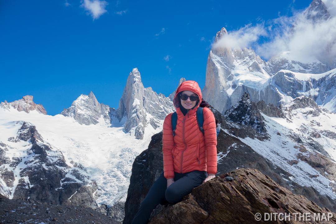 Sylvie freezes near Mt. Fitz Roy in El Chalten, Argentina