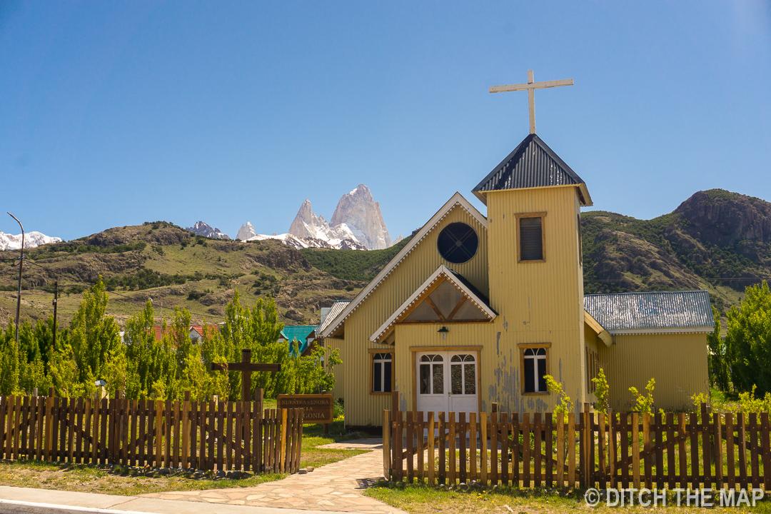 The only church in El Chalten, Argentina
