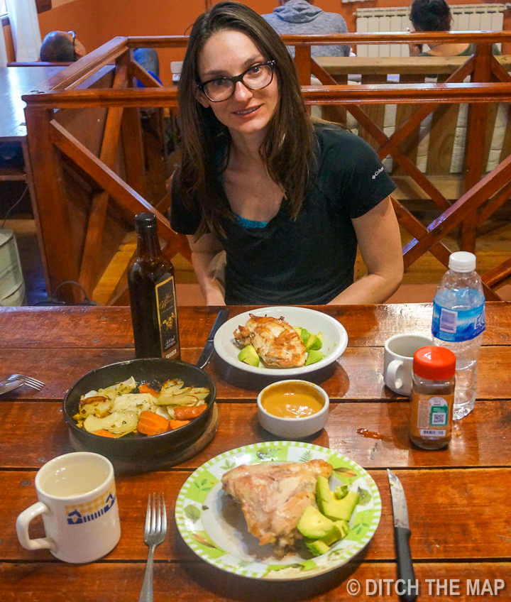 Eating a nice dinner at our hostel after a day at  Perito Moreno Glacier  just outside El Calafate, Argentina