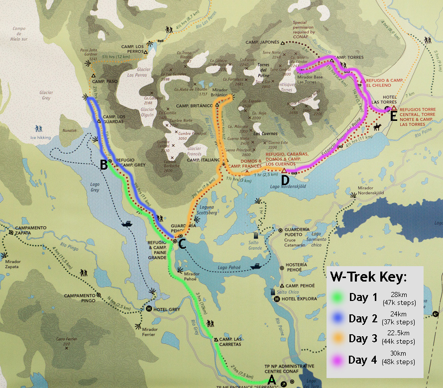 A Map of Our W-Trek Hike in Torres del Paine, Chile