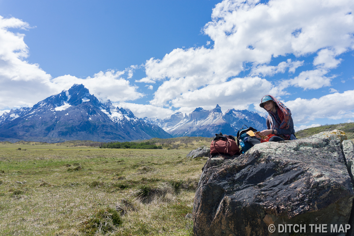 We break for a lunch during the first day of the W-Trek in Torres del Paine, Chile