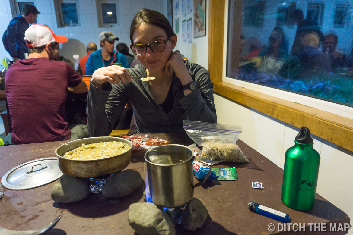 Our first dinner during the W-Trek in Torres del Paine, Chile