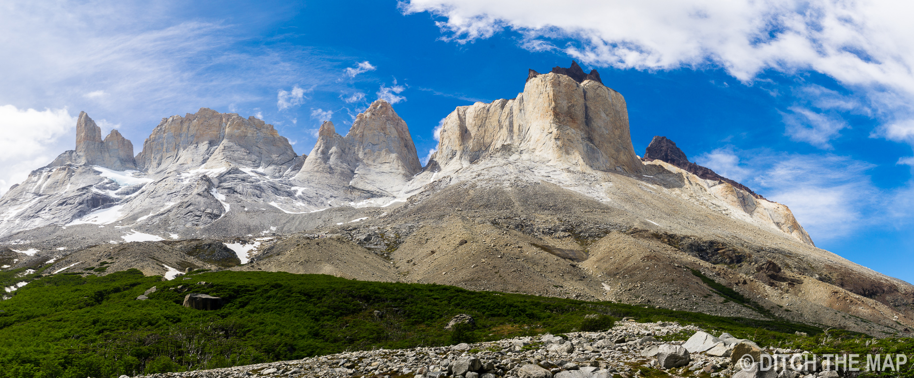 Panoramic view during our 3rd day hiking the W-Trek in Torres del Paine, Chile
