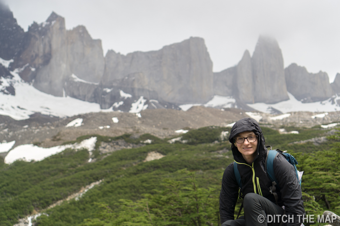 Sylvie rests atop Britanica during day 3 of the W-Trek in Torres del Paine, Chile