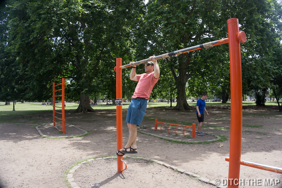 Working out at the parks in Buenos Aires, Argentina