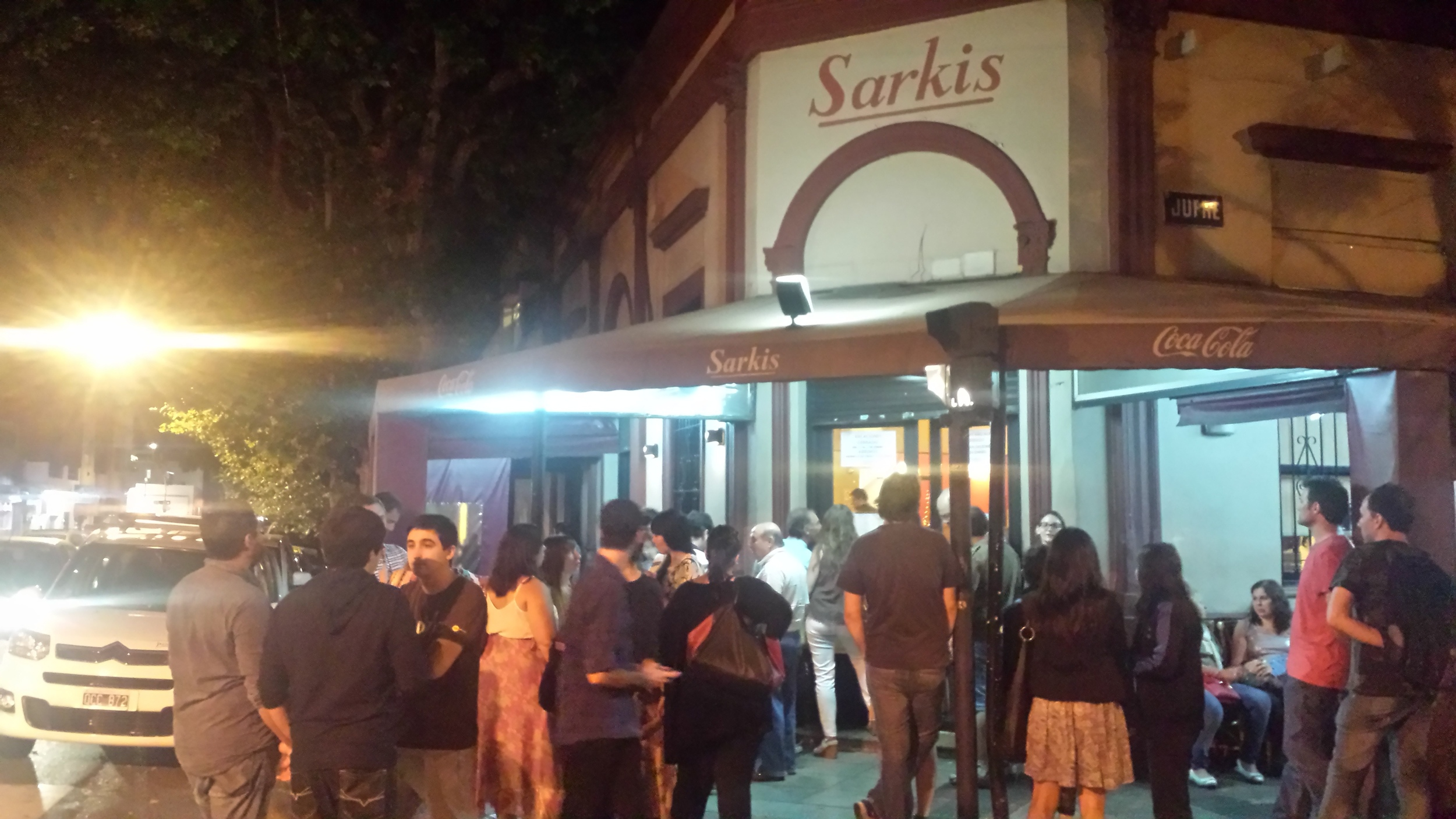 Waiting outside Sarkis in Buenos Aires, Argentina