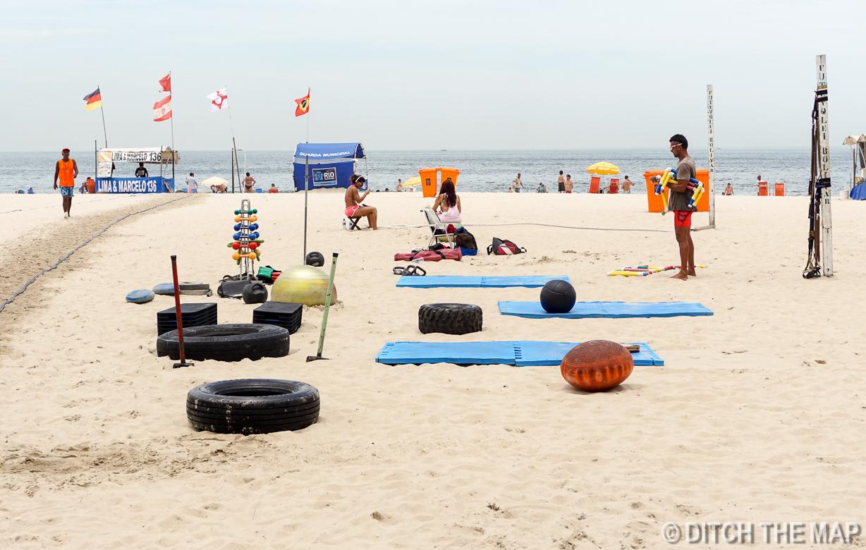Beachside Gyms Along Copacabana Beach in Rio de Janeiro, Brazil