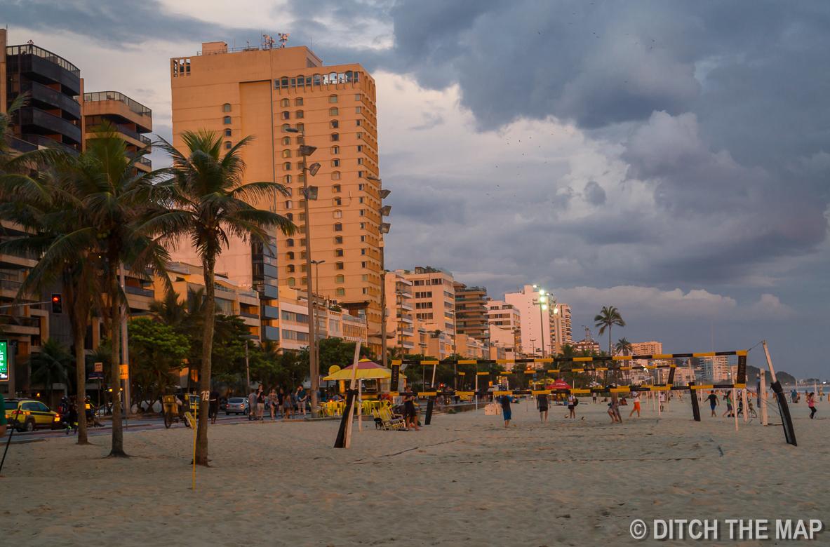 Watching a sunset on Ipanema Beach in Rio de Janeiro, Brazil