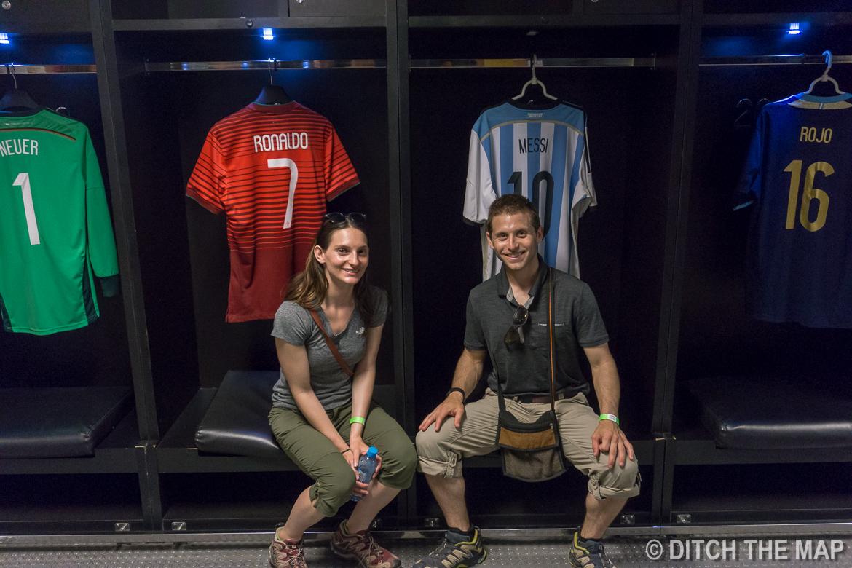 In the Maracanã Soccer Stadium's locker room in Rio de Janeiro, Brazil
