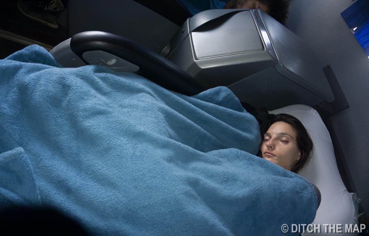 Sylvie sleeping on the bus to Sao Paulo, Brazil