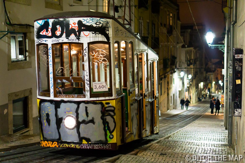 Narrow tram in Lisbon, Portugal