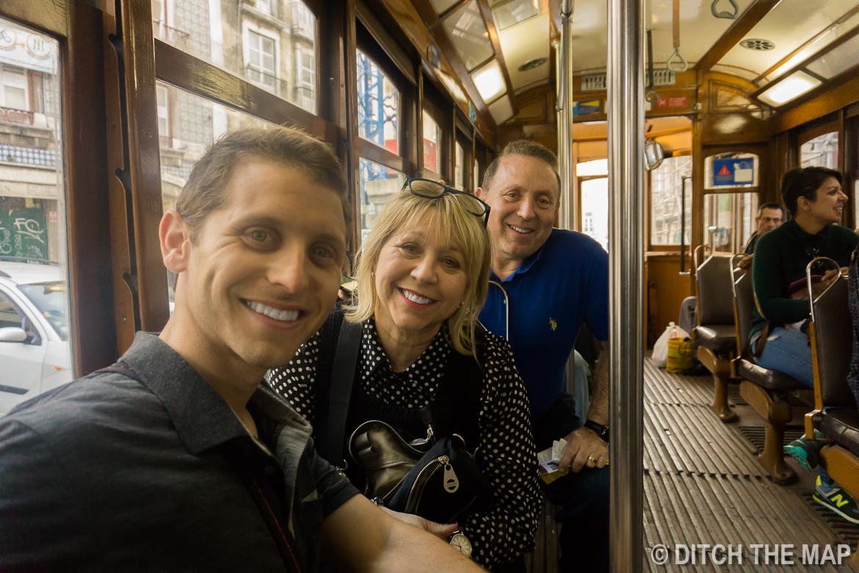 Taking a tram in Lisbon, Portugal