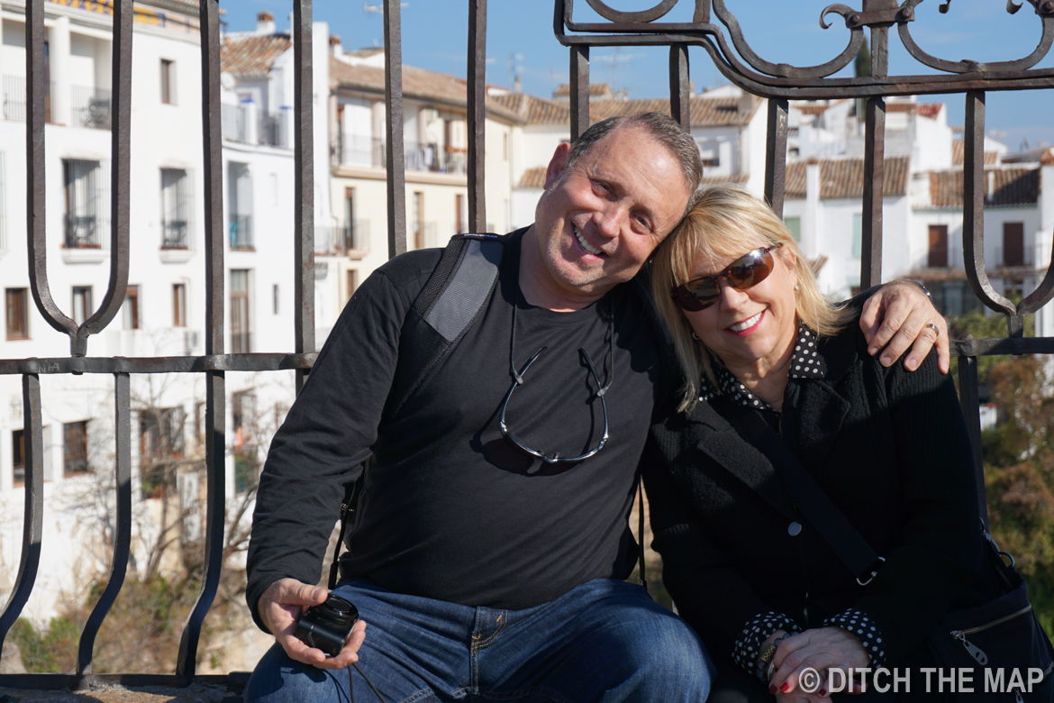 Gary and Laurie on the new bridge that spans the gorge in Ronda, Spain