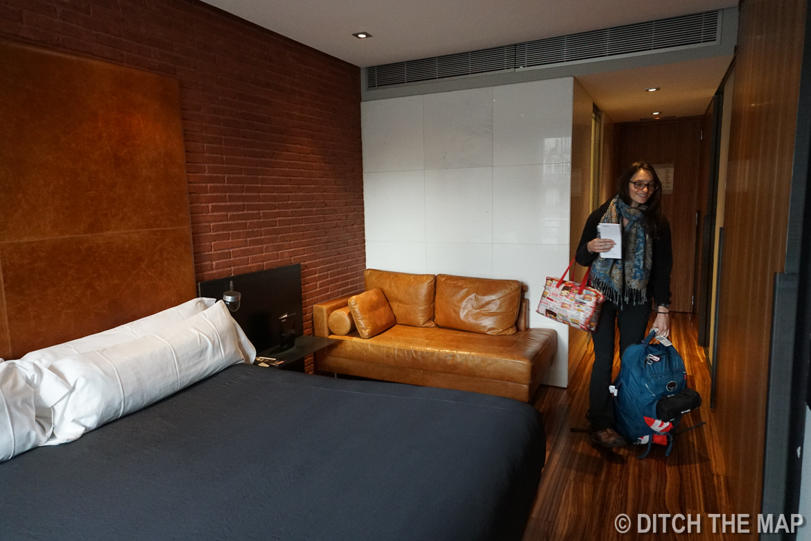 Our hotel room in Barcelona, Spain