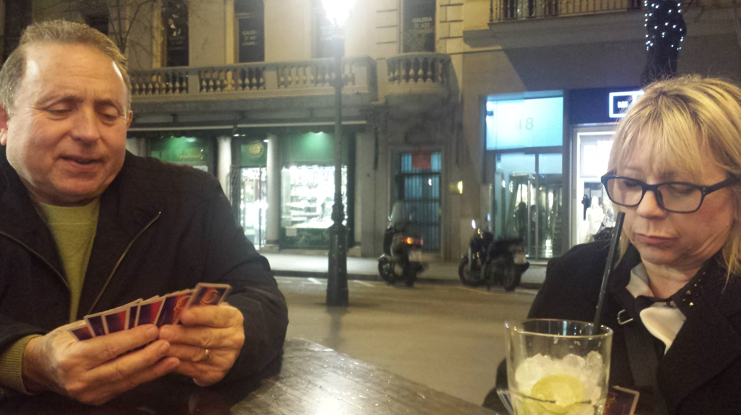 Playing Quidler one night before dinner in Barcelona, Spain