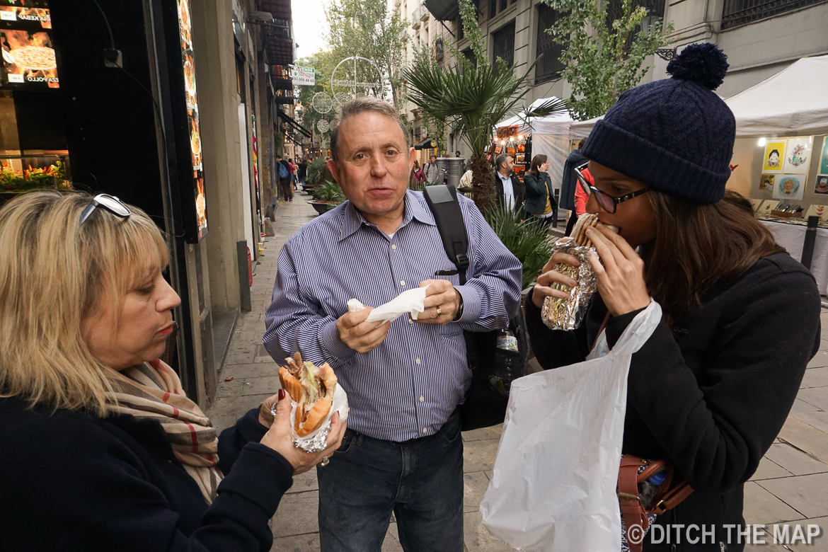 Eating lunch in Barcelona, Spain