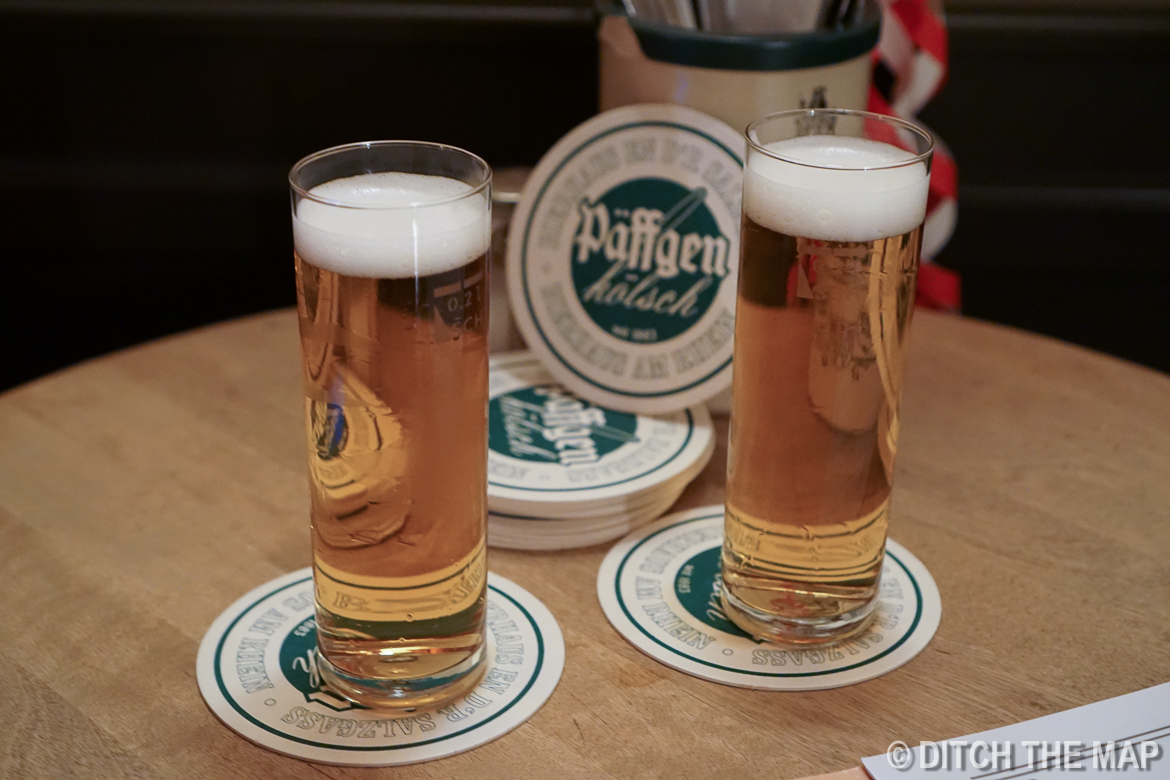 Enjoying a kolsch beer in Cologne, Germany