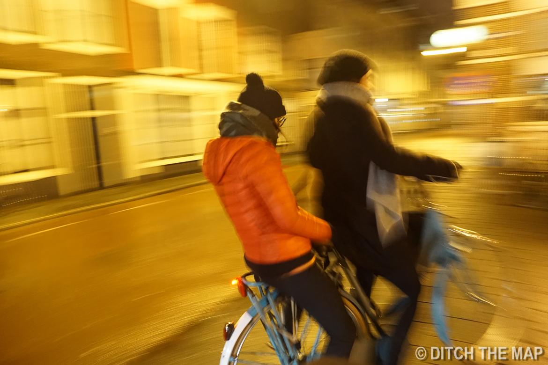 Riding around town in Leiden, Netherlands