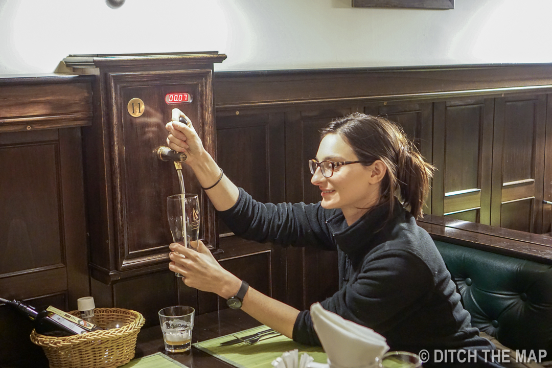 Pour our own beer at the Ale House in Sofia, Bulgaria