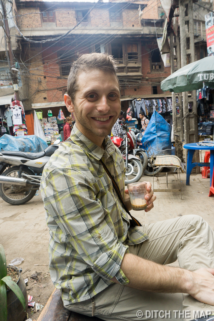 Scott Enjoys Chai Tea in Kathmandu, Nepal