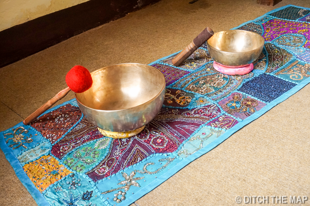 Tibetan Singing Bowls and Hand Sewn Table Runner in Kathmandu, Nepal