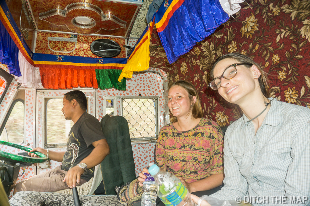 Hitchhiking into Town During our Workaway in Nepal