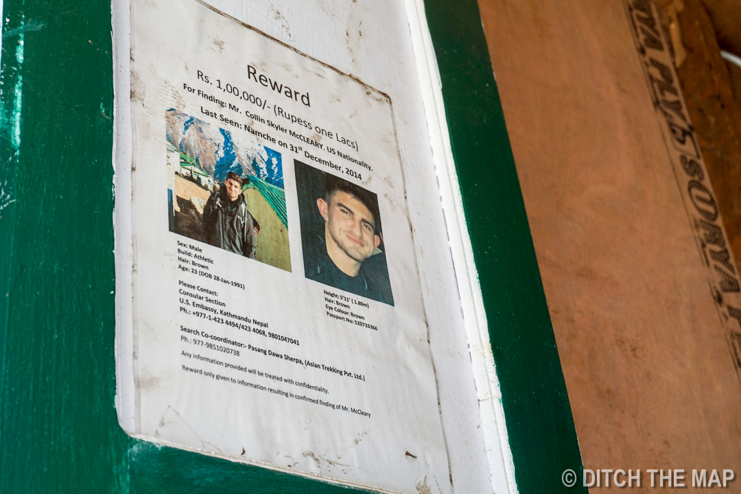 Lost Persons Signs in Lukla, Nepal