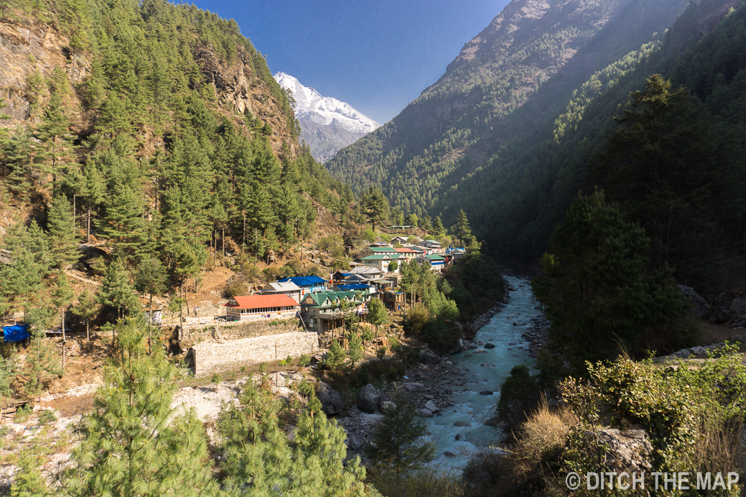 A view of a town during our 2nd day hiking to EBC