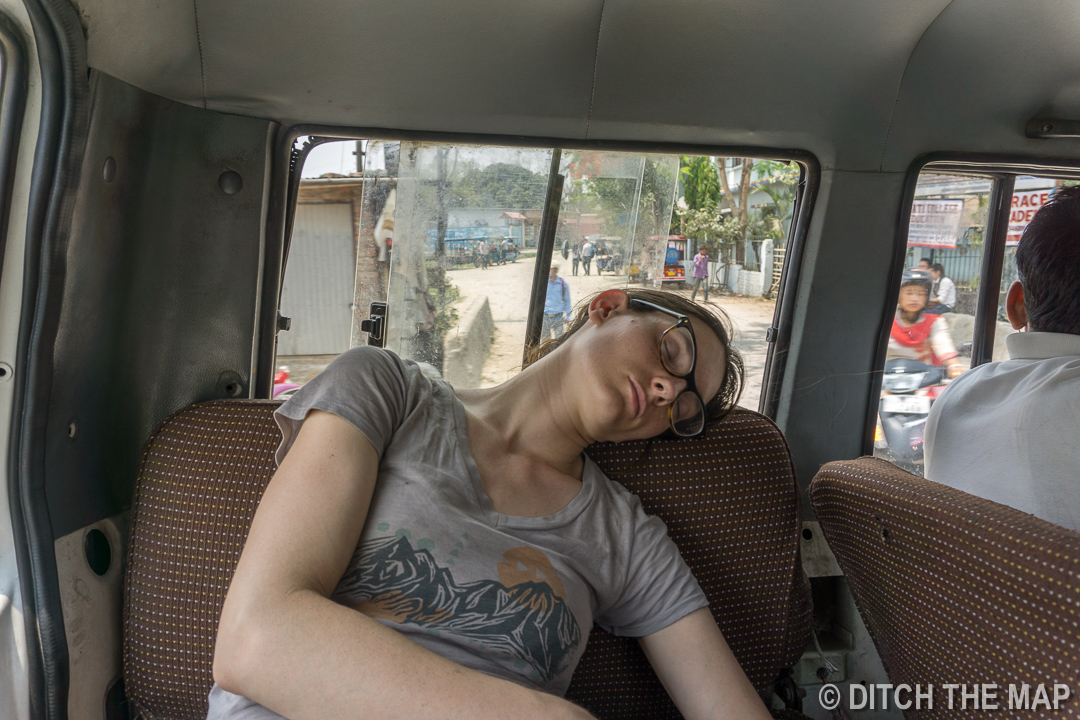 Sylvie doses off during our collective taxi to Kurseong, India