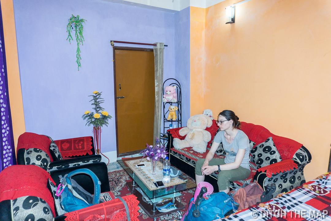 Our room in our Maki Bari Tea Estate Homestay in Kurseong, India