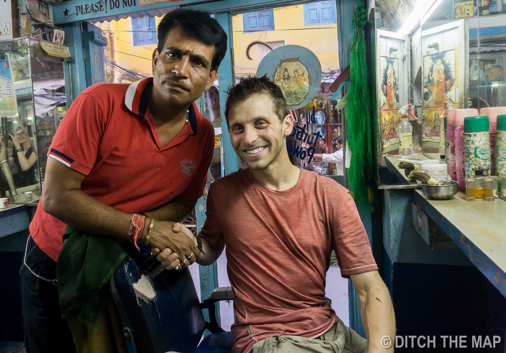 Getting a Haircut in Pushkar, India