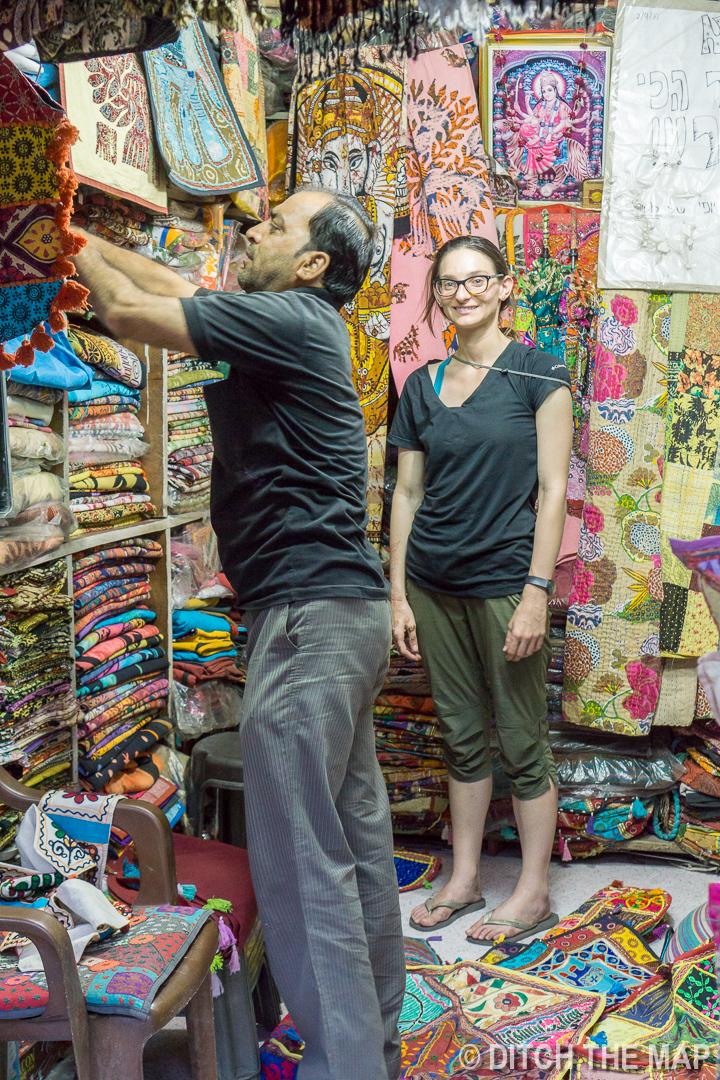 Buying Patchwork Pillows in Pushkar, India