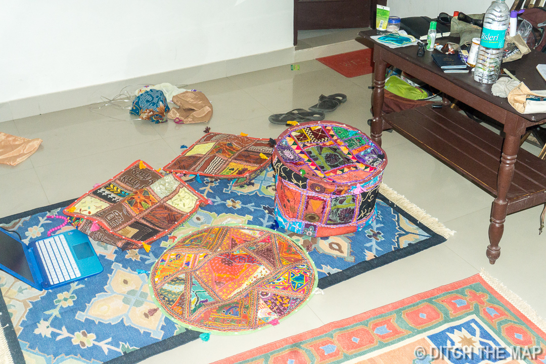 Our Patchwork Pieces on our 2 Handwoven Dhurries in Pushkar, India