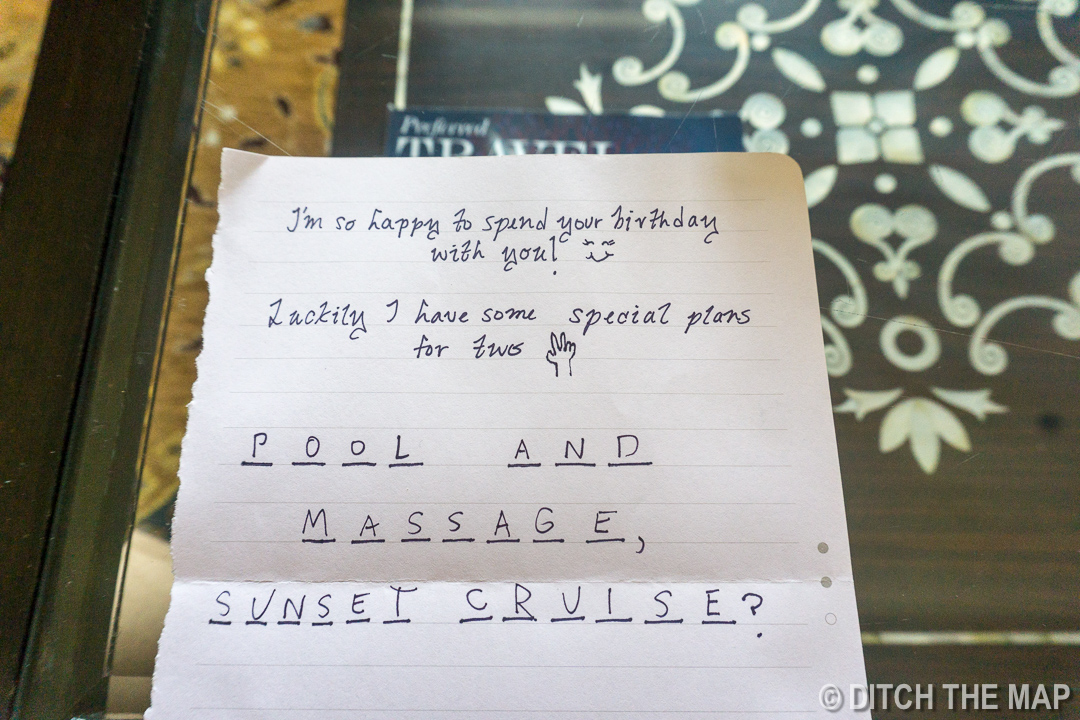 A Second Note Sylvie Hands me for my Birthday in Udaipur, India