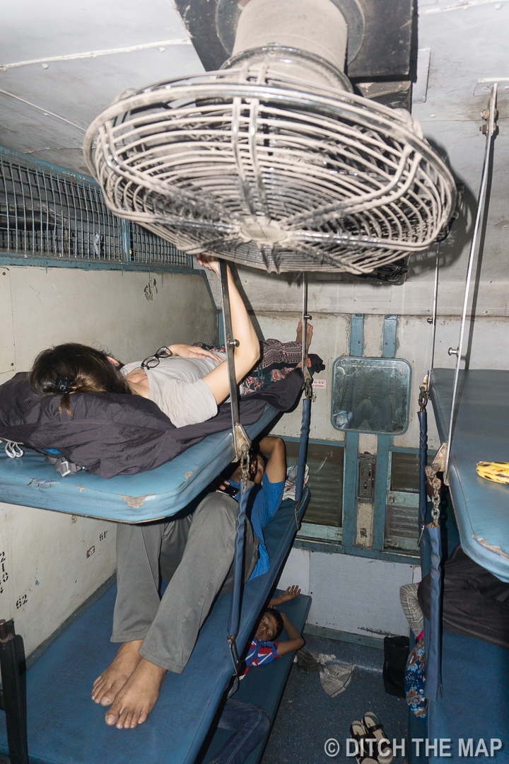 Taking a sleeper class train to Kochi, India
