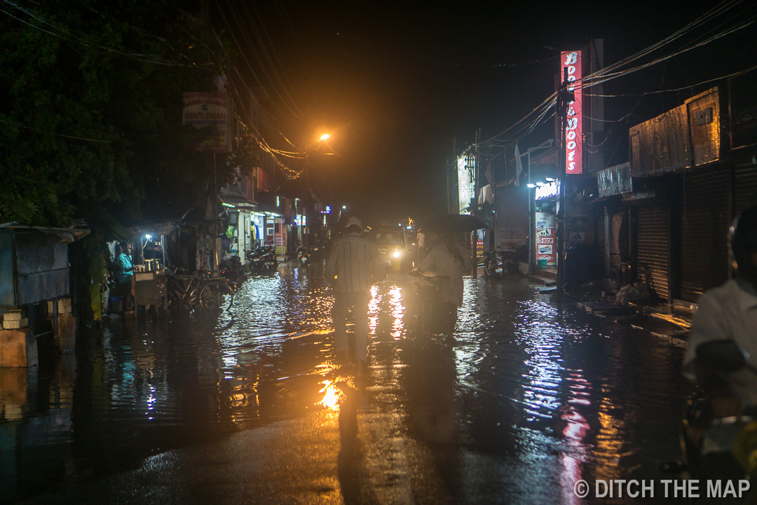 Flooded street during a monsoon downpour in Appelley, India