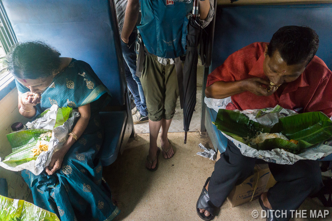 Indians Eating with their Hands on Train in Kerala, India
