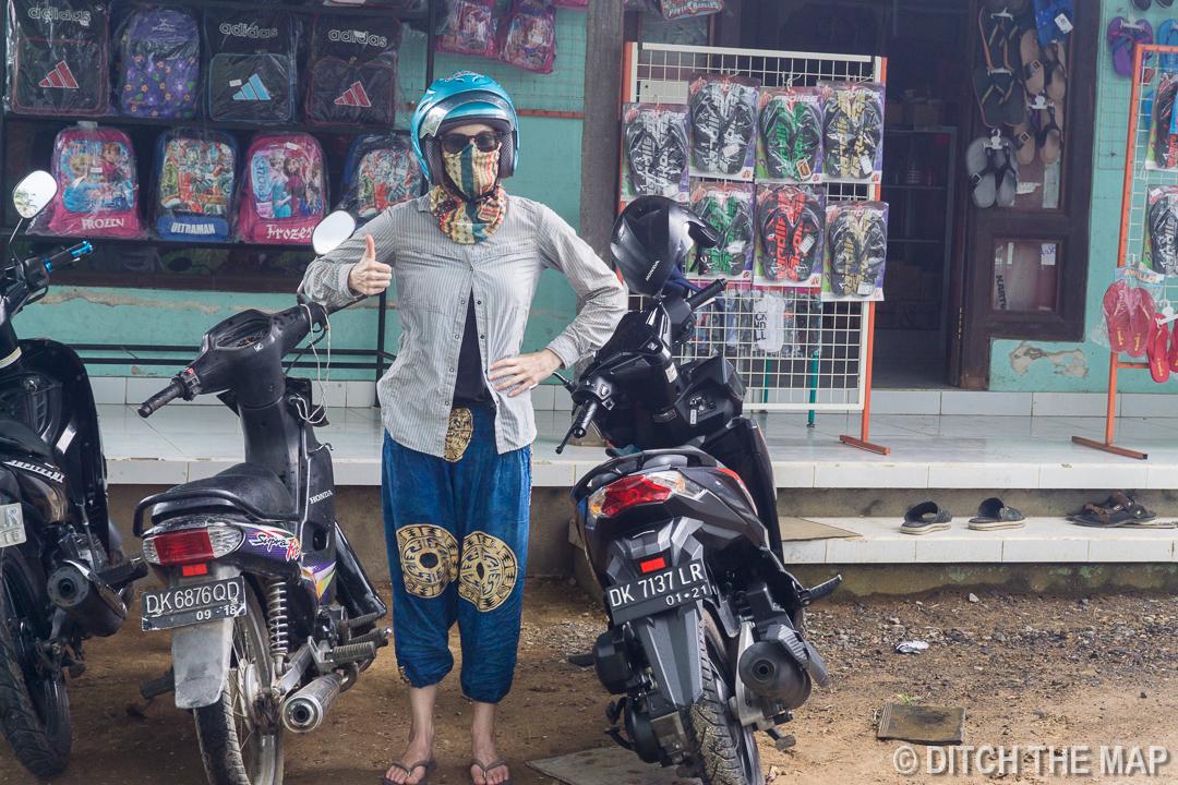 Resting at a roadside petrol station outside Ubud, Bali