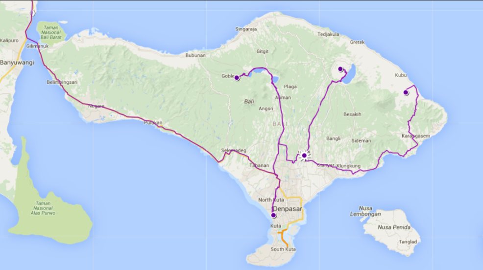 Our Route Through Bali, Indonesia